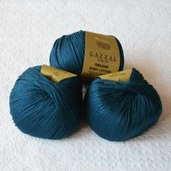 Gazzal Fancy Yarns Моточная пряжа Organic Baby Cotton материал  органическиий хлопок цвет петроль 437