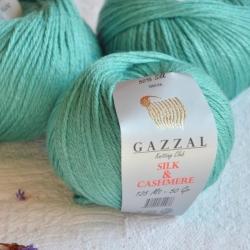 Gazzal  Моточная пряжа Silk&Cashmere  материал  кашемир+шелк цвет нефрит 456