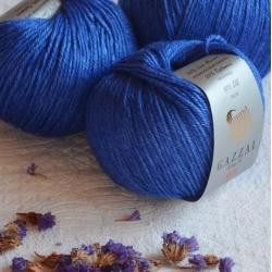 Gazzal  Моточная пряжа Silk&Cashmere  материал  кашемир+шелк цвет сочный синий 461