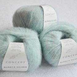 Katia Моточная пряжа Alpaca Silver материал   альпака цвет  pastel green-silver 264