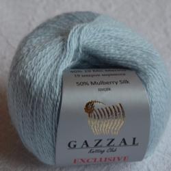 Gazzal  Моточная пряжа Exclusive материал  смесовка с шелком цвет голубой лед 9917