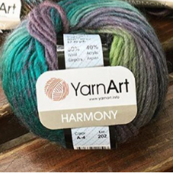 Yarnart Моточная пряжа Harmony материал смесовка цвет  самоцветы A4