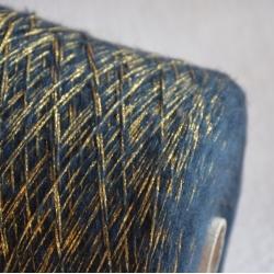 Lagopolane Пряжа на бобинах Brillo материал смесовка цвет петроль с золотом