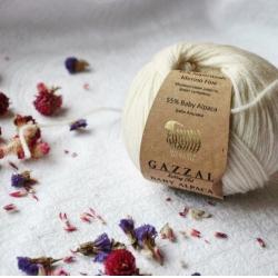 Gazzal Fancy Yarns Моточная пряжа Baby Alpaca материал  альпака цвет молочный 46001