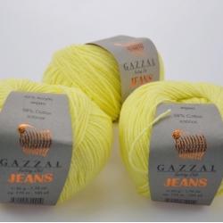 Gazzal  Моточная пряжа Jeans материал  хлопок+акрил цвет лимон 1102