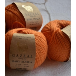 Gazzal Fancy Yarns Моточная пряжа Baby Alpaca материал  альпака цвет мандарин 46008