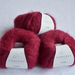 Katia Моточная пряжа Aire материал  суперкидмохер+ бэби альпака цвет burgundy red 119