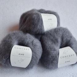 Katia Моточная пряжа Aire материал  суперкидмохер+ бэби альпака цвет  medium grey 117