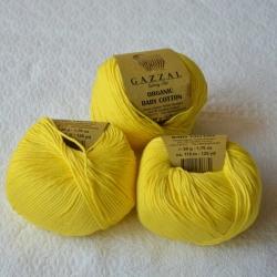 Gazzal Fancy Yarns Моточная пряжа Organic Baby Cotton материал  органическиий хлопок цвет лимон 420