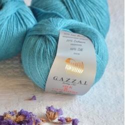 Gazzal  Моточная пряжа Silk&Cashmere  материал  кашемир+шелк цвет тиффани 454