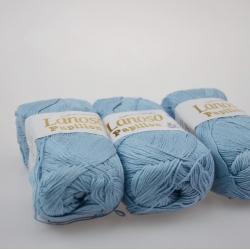 Lanoso Моточная пряжа Papillon материал  хлопок+вискоза цвет голубой 940