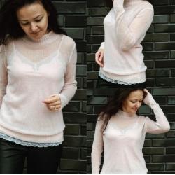 Вязаный свитер из итальянского кидмохера оттенка нежной пудры на рост до 170 см
