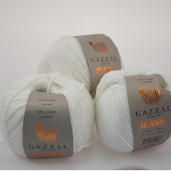 Gazzal  Моточная пряжа Jeans материал  хлопок+акрил цвет белый 1119