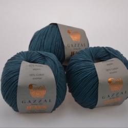 Gazzal  Моточная пряжа Jeans материал  хлопок+акрил цвет  темный петроль 1131