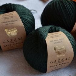 Gazzal Fancy Yarns Моточная пряжа Baby Alpaca материал  альпака цвет изумруд 46011