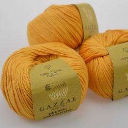 Gazzal Fancy Yarns Моточная пряжа Organic Baby Cotton материал  органическиий хлопок цвет дыни 418