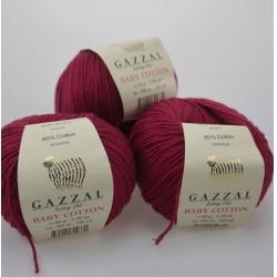 Gazzal  Моточная пряжа Baby Cotton материал  смесовка цвет винный