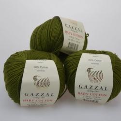 Gazzal  Моточная пряжа Baby Cotton материал  смесовка цвет хаки