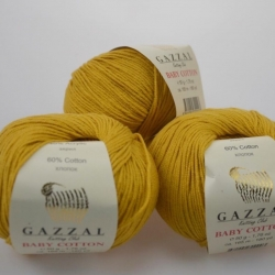 Gazzal  Моточная пряжа Baby Cotton материал  смесовка цвет горчица