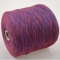 Fashion Mill Пряжа на бобинах Fluo материал хлопок+полиамид цвет темная лаванда в обмотке кораллового