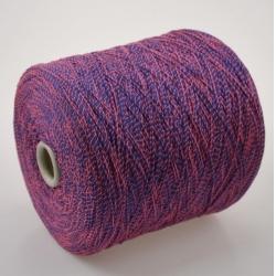 Fashion Mill Пряжа на бобинах Fluo материал хлопок+полиамид цвет темная лаванда в обмотке розового леденца