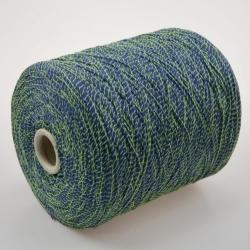 Fashion Mill Пряжа на бобинах Fluo материал хлопок+полиамид цвет синий с салатовым
