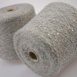 Industria Italiana Пряжа на бобинах Goccia материал кидмохер, меринос, пайетки цвет серый меланж