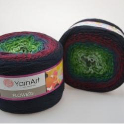 Yarnart Моточная пряжа Flowers материал хлопок +акрил цвет  мултиколор 266