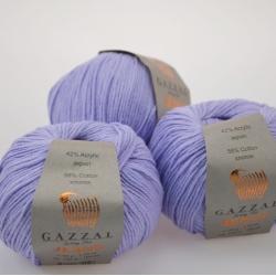 Gazzal  Моточная пряжа Jeans материал  хлопок+акрил цвет  лаванда 1103
