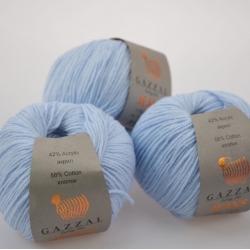 Gazzal  Моточная пряжа Jeans материал  хлопок+акрил цвет  голубой лед 1109