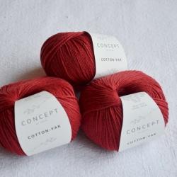 Katia Моточная пряжа Cotton-YAK материал  хлопок+як цвет red 105