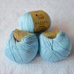 Gazzal Fancy Yarns Моточная пряжа Organic Baby Cotton материал  органическиий хлопок цвет голубой лед 423