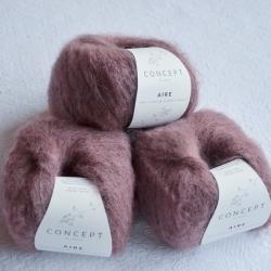 Katia Моточная пряжа Aire материал  суперкидмохер+ бэби альпака цвет medium rose103