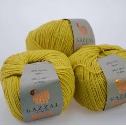 Gazzal  Моточная пряжа Jeans материал  хлопок+акрил цвет горчица 1125
