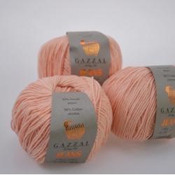 Gazzal  Моточная пряжа Jeans материал  хлопок+акрил цвет персик 1117